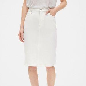 NWT GAP High Rise Denim Pencil Skirt White size 20